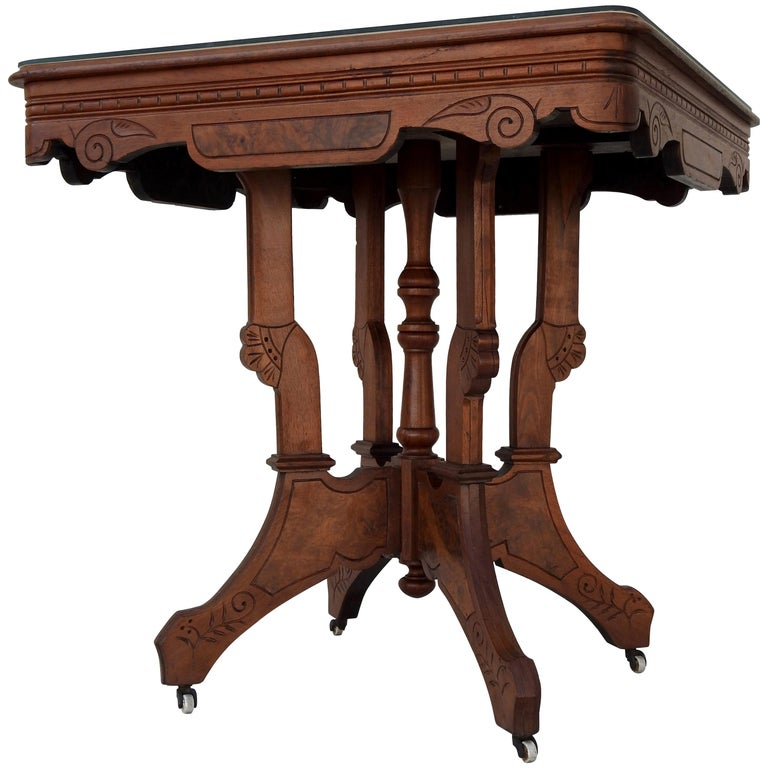 Eastlake Burled Walnut Table with Glass Top For Sale