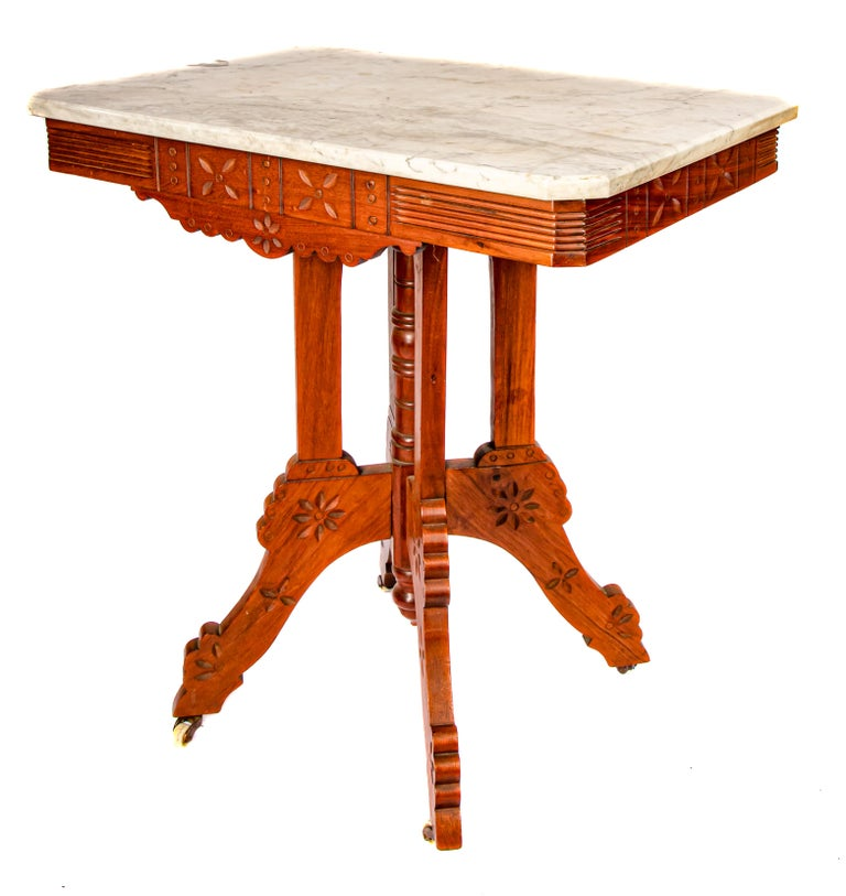 19th Century Eastlake Carrera Marble-Top Parlor Table For Sale