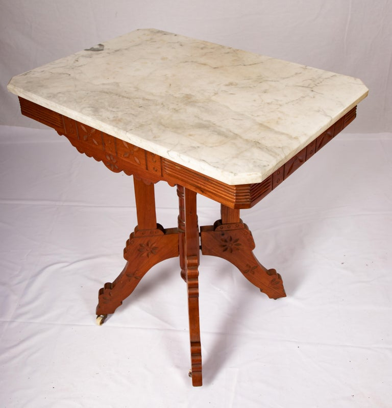 Carrara Marble Eastlake Carrera Marble-Top Parlor Table For Sale
