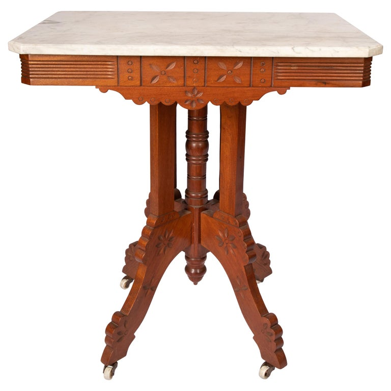 Eastlake Carrera Marble-Top Parlor Table For Sale