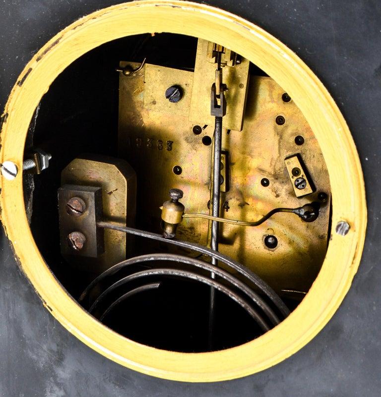 Eastlake Mantel Clock in Black Marble and Enamel For Sale 5