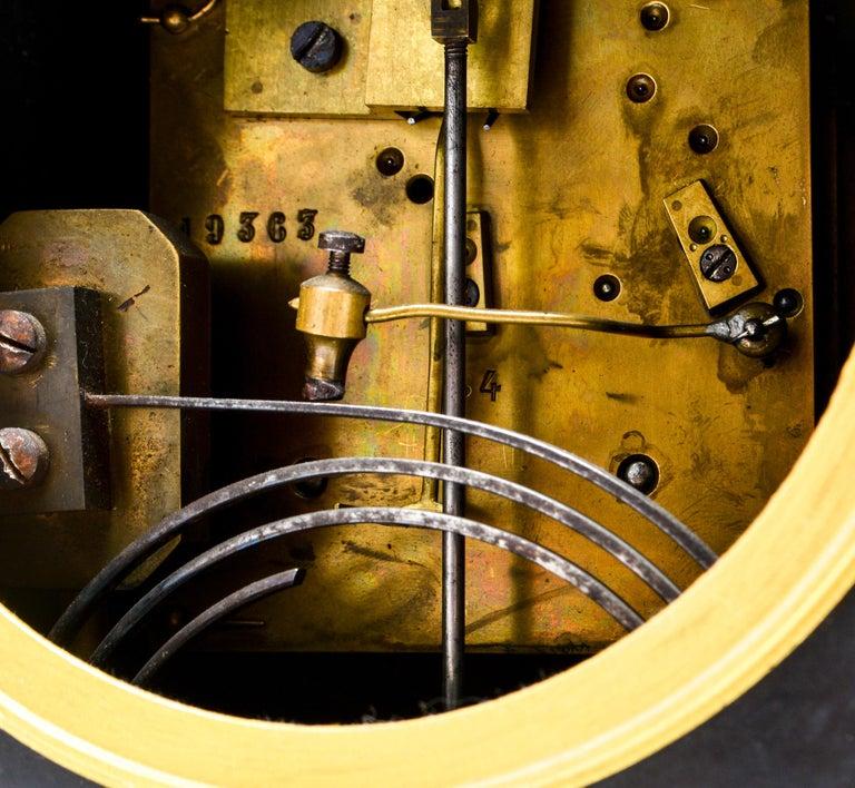Eastlake Mantel Clock in Black Marble and Enamel For Sale 6