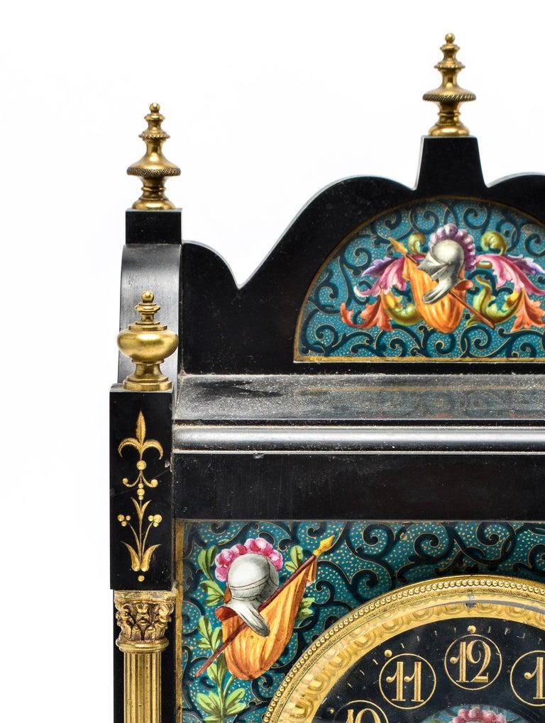 American Eastlake Mantel Clock in Black Marble and Enamel For Sale
