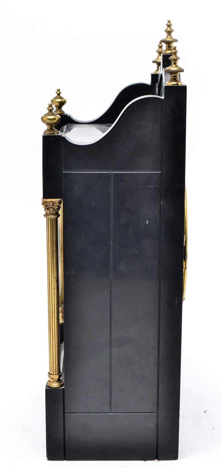 Eastlake Mantel Clock in Black Marble and Enamel For Sale 2