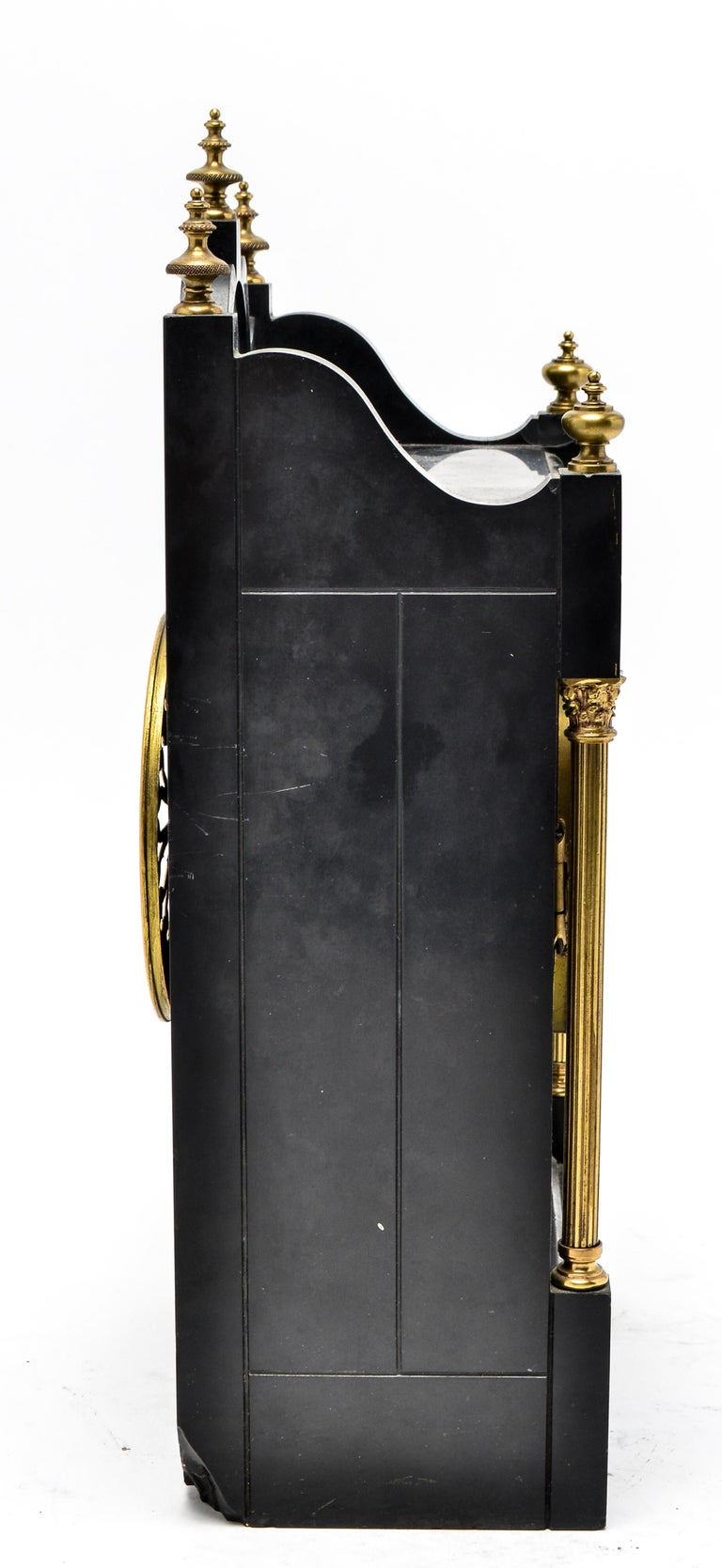 Eastlake Mantel Clock in Black Marble and Enamel For Sale 3