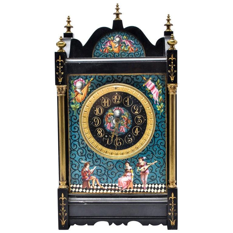 Eastlake Mantel Clock in Black Marble and Enamel For Sale