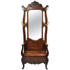 Eastlake Victorian Carved Oak Wood Beveled Glass Mirror Coat Hook Hall Tree