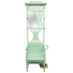 Eastlake Victorian Green Carved Moon Stars Hall Tree Mirror Bench Umbrella Stand