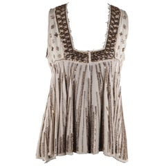 Easton Pearson Beige Silk Embellished Sequin Sleeveless Blouse Top