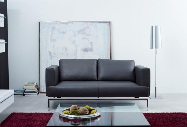Contemporary Easy Adjustable Leather Sofa by FSM For Sale