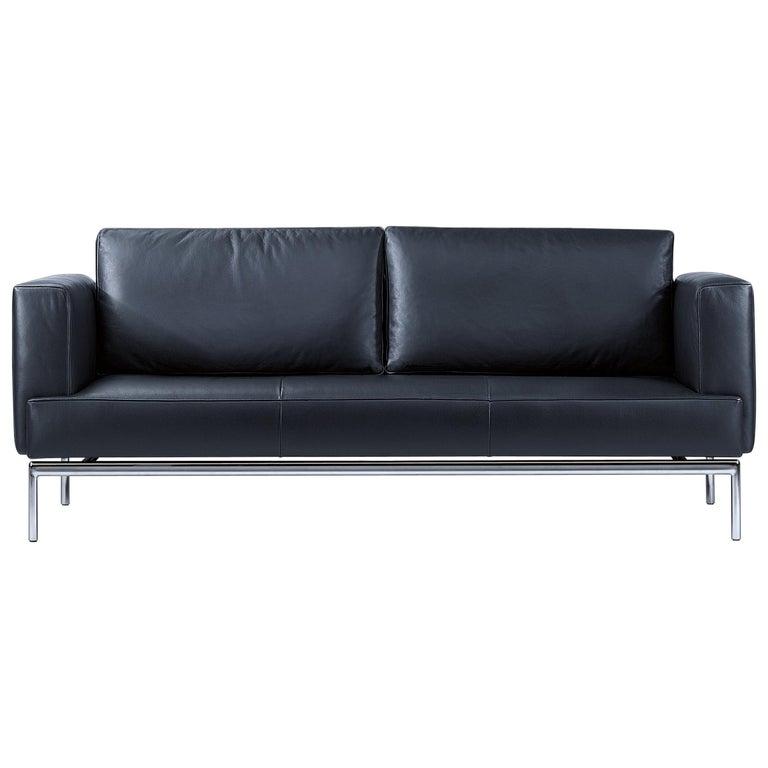 For Sale: Black Easy Adjustable Leather Sofa by FSM