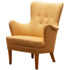 """Easy Arm Lounge Chair """"Gävle"""" by Carl Malmsten for Oh Sjogren, 1950s"""