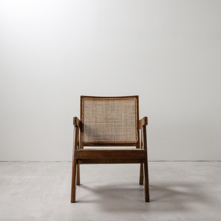 Mid-Century Modern 'Easy' Armchairs by Pierre Jeanneret: PJ-SI-29-A Chandigarh, India, 1950s For Sale