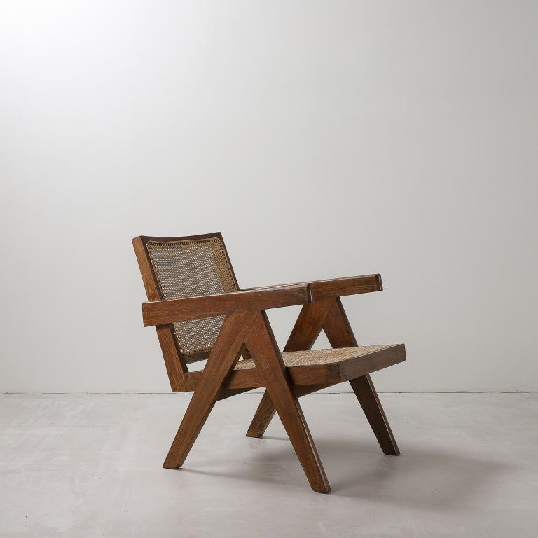 Indian 'Easy' Armchairs by Pierre Jeanneret: PJ-SI-29-A Chandigarh, India, 1950s For Sale