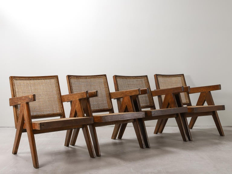 Cane 'Easy' Armchairs by Pierre Jeanneret: PJ-SI-29-A Chandigarh, India, 1950s For Sale
