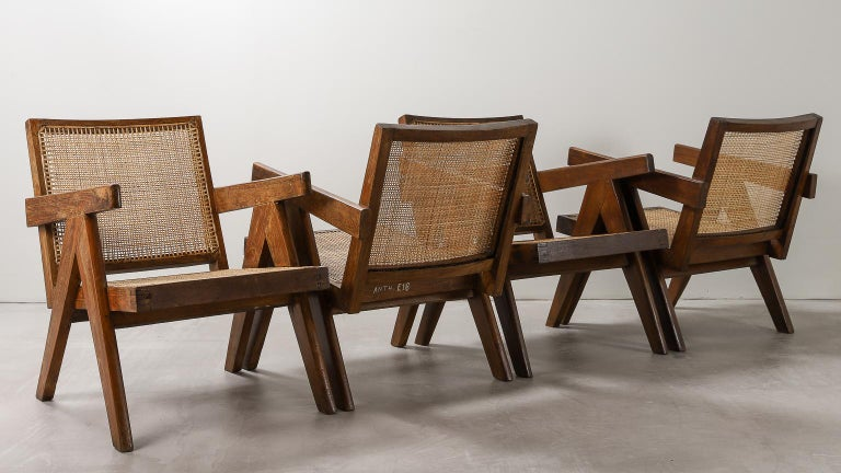 'Easy' Armchairs by Pierre Jeanneret: PJ-SI-29-A Chandigarh, India, 1950s In Good Condition For Sale In London, Greater London