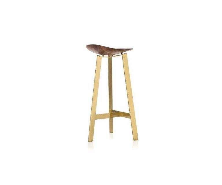 Modern Easy Brass Bar Stool by Sollos For Sale