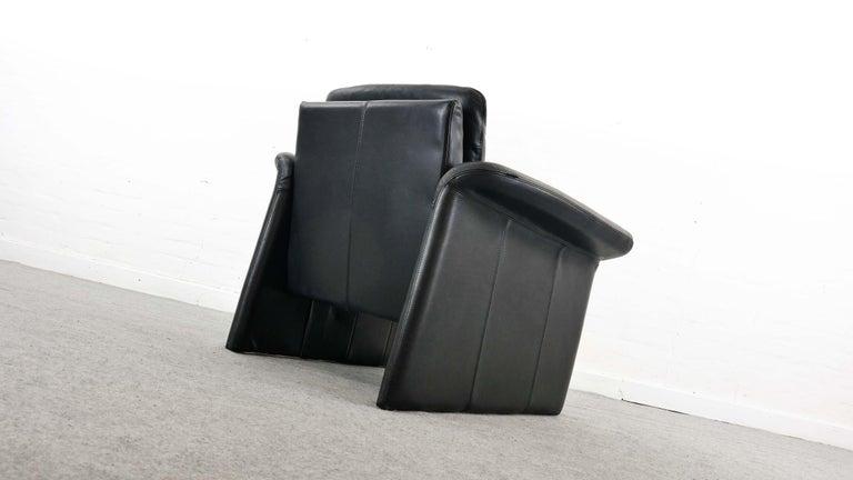 Danish Easy Chair / Armchair in Black Leather by Skalma Denmark For Sale