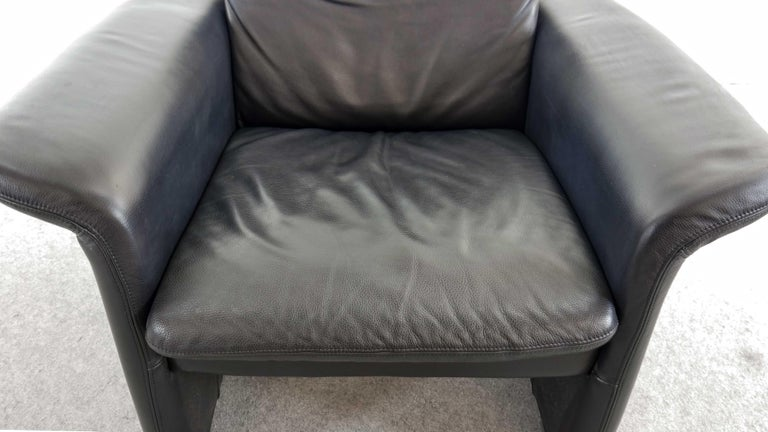 Easy Chair / Armchair in Black Leather by Skalma Denmark For Sale 2