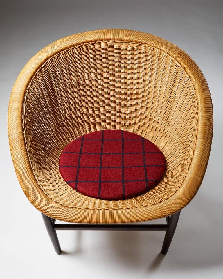 Cane Easy Chair Designed by Nanna Ditzel for Ludvig Pontoppidan, Denmark, 1950's For Sale