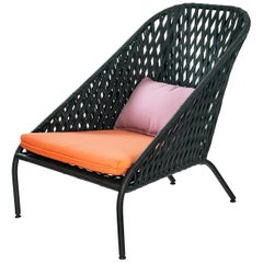 Easy Chair for Exterior Use with Hand Weaved Aluminium Structure