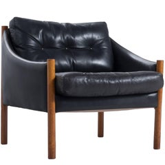 Easy Chair in Black Leather and Solid Teak