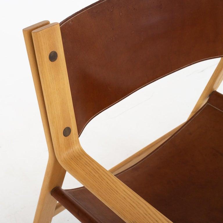 Danish Easy Chair in Original Leather by Hans J. Wegner For Sale