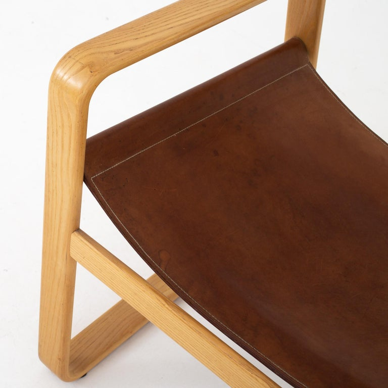 Lacquered Easy Chair in Original Leather by Hans J. Wegner For Sale