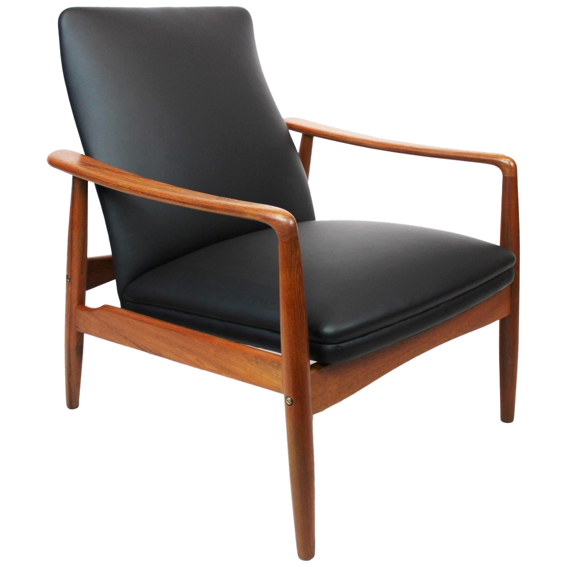 Easy Chair in Teak and Black Leather Designed by Søren Ladefoged in the 1960s