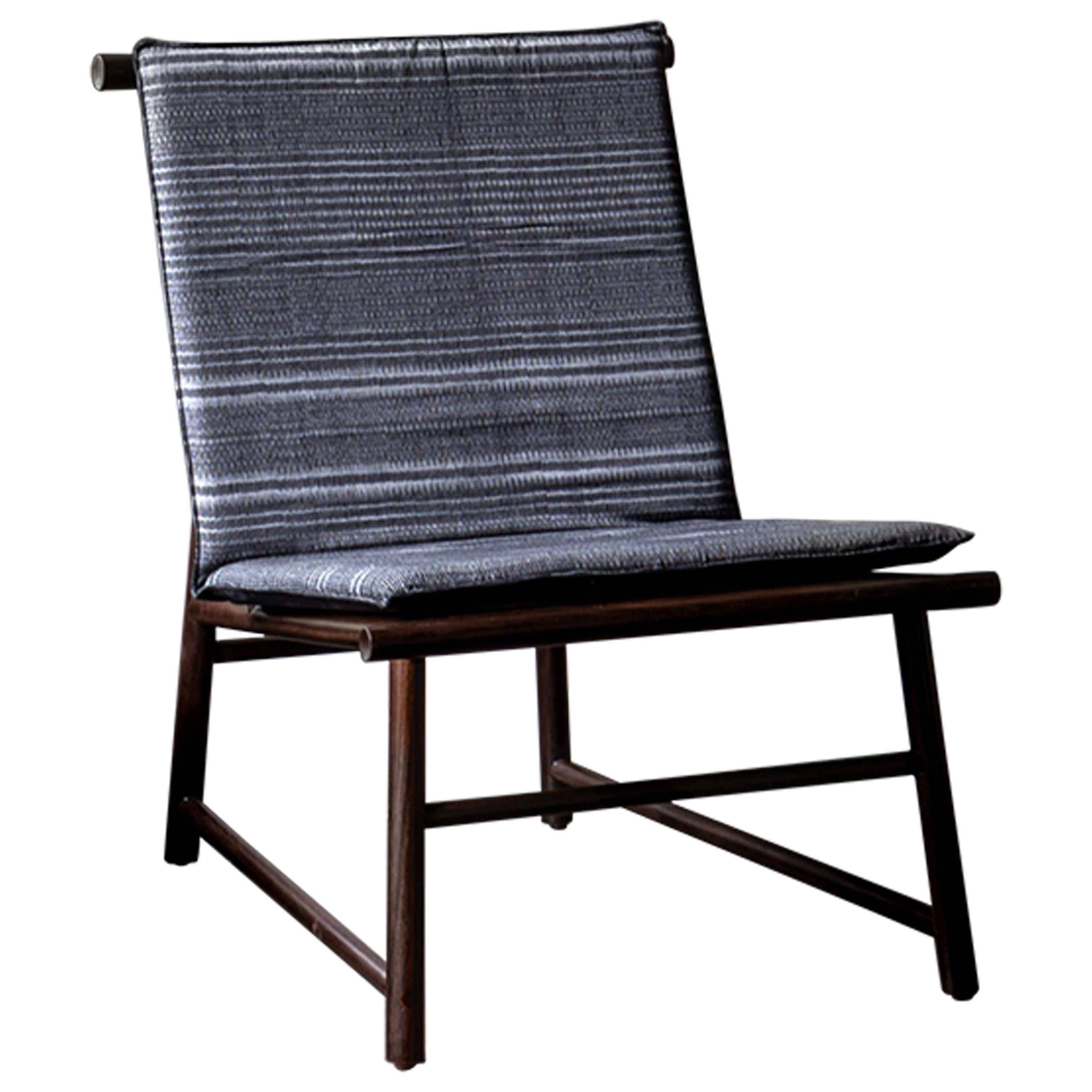 Easy Chair, Lounge Chair in Walnut Wood with Handmade Textile in Pedal Loom