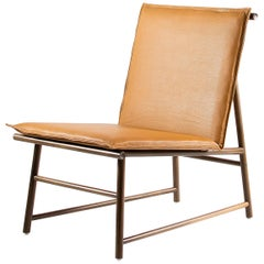 Easy Chair, Lounge Chair in Walnut Wood with Natural Leather Seat