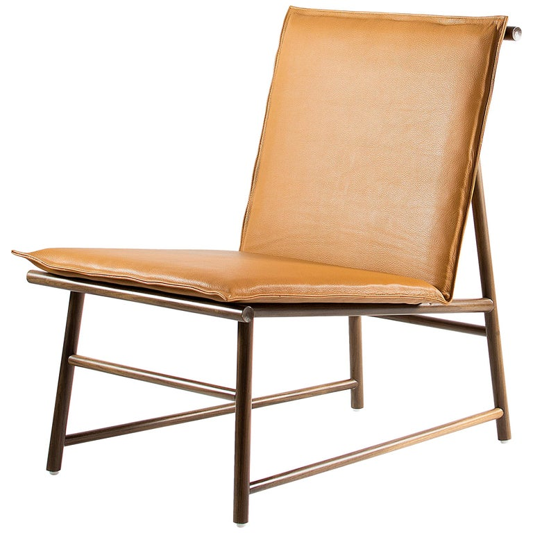 Easy Chair, Lounge Chair in Walnut Wood with Natural Leather Seat For Sale