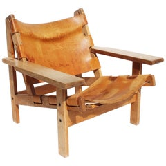 Easy Chair, Model 168, of Oak and Patinated Leather Designed by Kurt Østervig