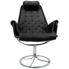 Easy Chair, Model Jetson 69, in Black Leather Designed by Bruno Mathsson, 1970s