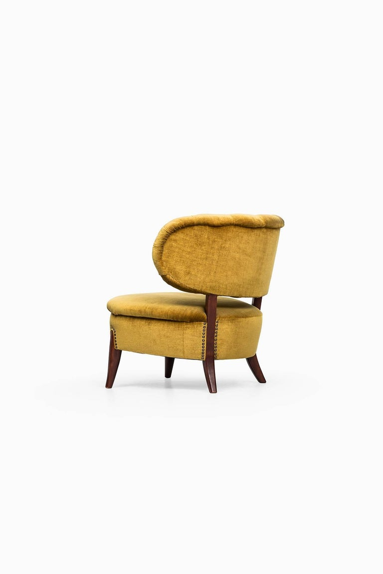 Velvet Easy Chair Model Schulz Designed by Otto Schulz Produced by Boet in Sweden For Sale