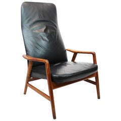 Easy Chair of Black Leather by Alf Svensson and Fritz Hansen, 1960s