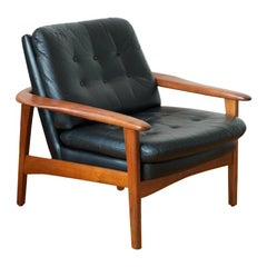 Easy Chair Teak Master, Genuine Leather, 1968