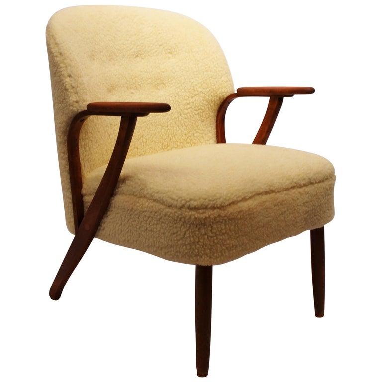 Sessel Gepolstert Mit Schafwolle Dänisches Design 1960er Jahre Im