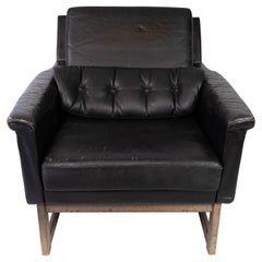 Easy Chair Upholstered with Black Leather and Legs in Wood, by Illum Wikkelsø