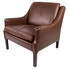 Easy Chair Upholstered with Dark Brown Leather Danish Design, 1960s