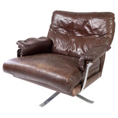 Easy Chair Upholstered with Patinated Brown Leatherby Arne Norell, 1970s