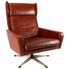 Easy Chair Upholstered with Red Brown Elegance Leather of Danish Design, 1960s