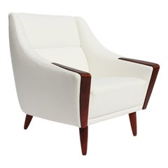 Easy Chair with Low Back Upholstered in White Fabric, Danish Design, 1960s
