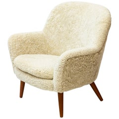 Easy Chair with Sheep Skin by Hans Olsen, Denmark, 1950s