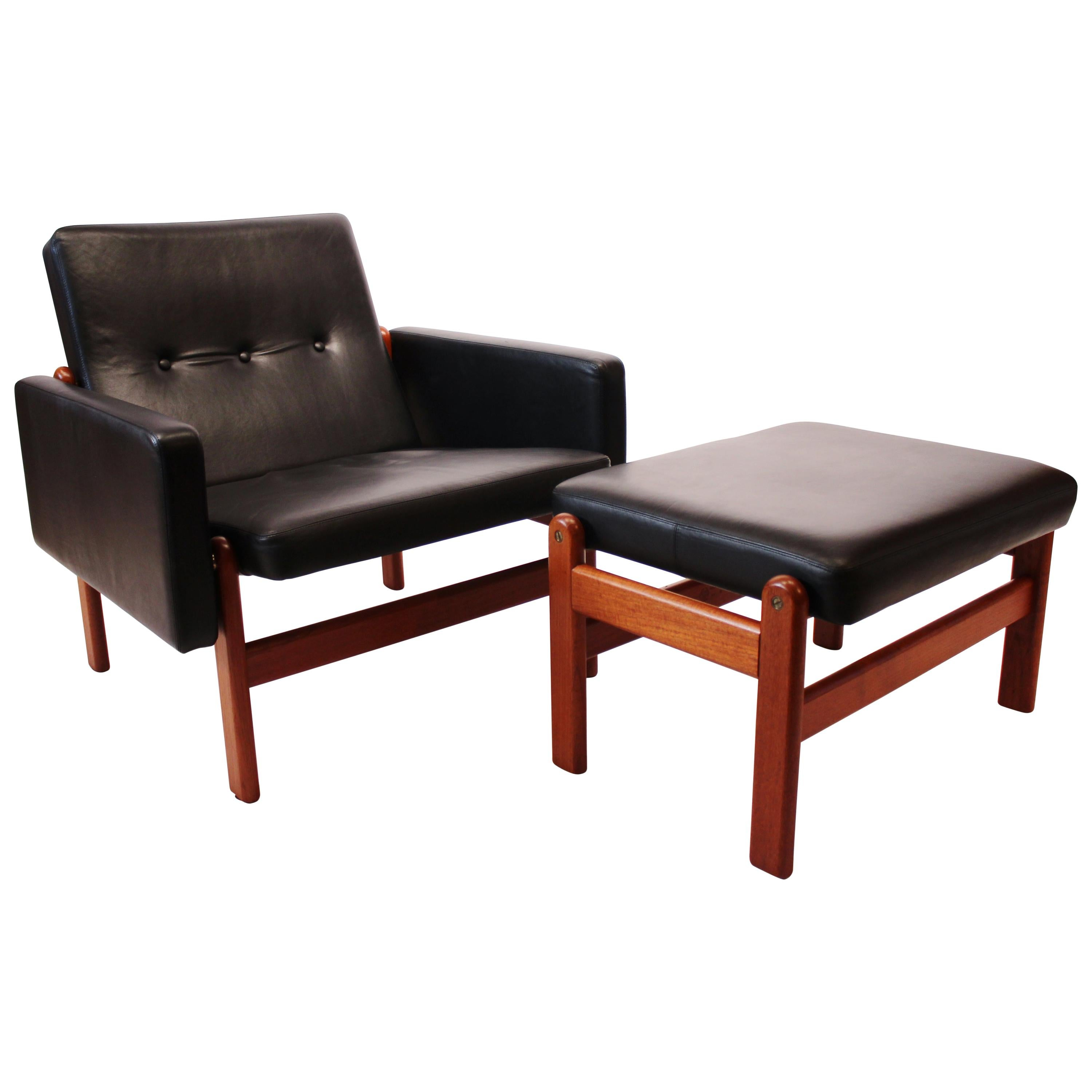 Easy Chair with Stool, Black Leather and Teak, by Jørgen Bækmark and FDB, 1960s