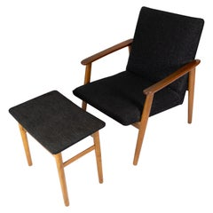 Easy Chair with Stool in Teak and Dark Wool Fabric of Danish Design, 1960s