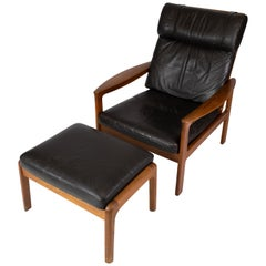 Easy Chair with Stool in Teak Upholstered with Black Leather by Arne Vodder
