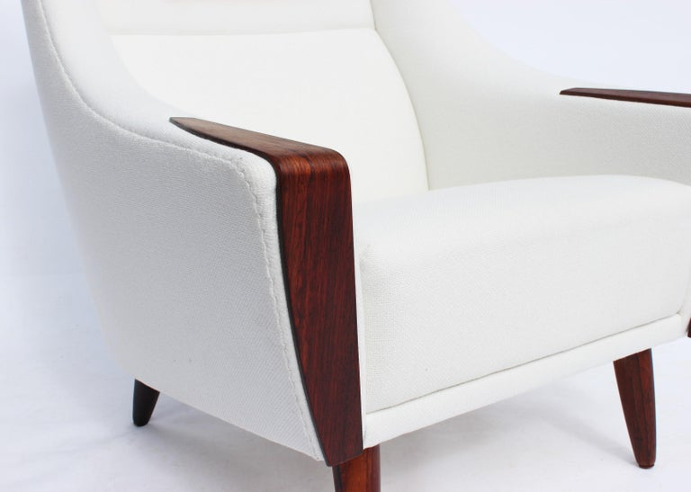 Wool Easy Chair with Tall Back Upholstered in White Fabric, Danish Design, 1960s For Sale