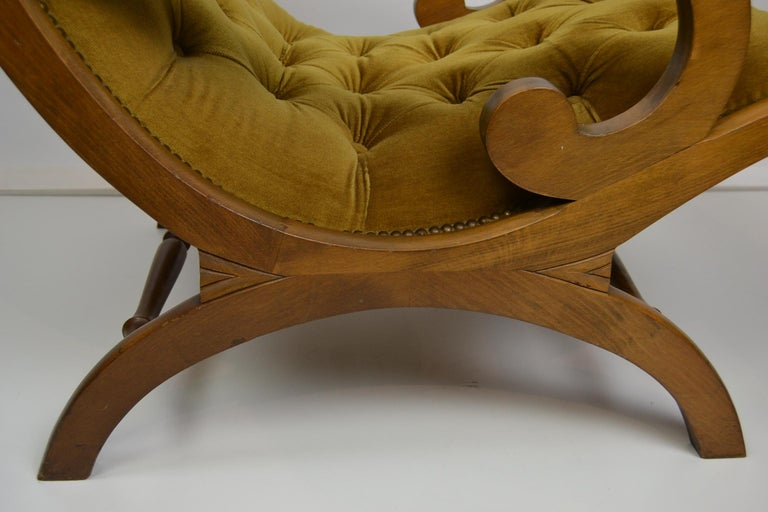 Easy Chair, Wood and Velvet, Yellow, Green, Mustard, 1950s For Sale 4