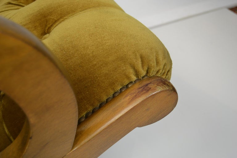 Easy Chair, Wood and Velvet, Yellow, Green, Mustard, 1950s For Sale 5
